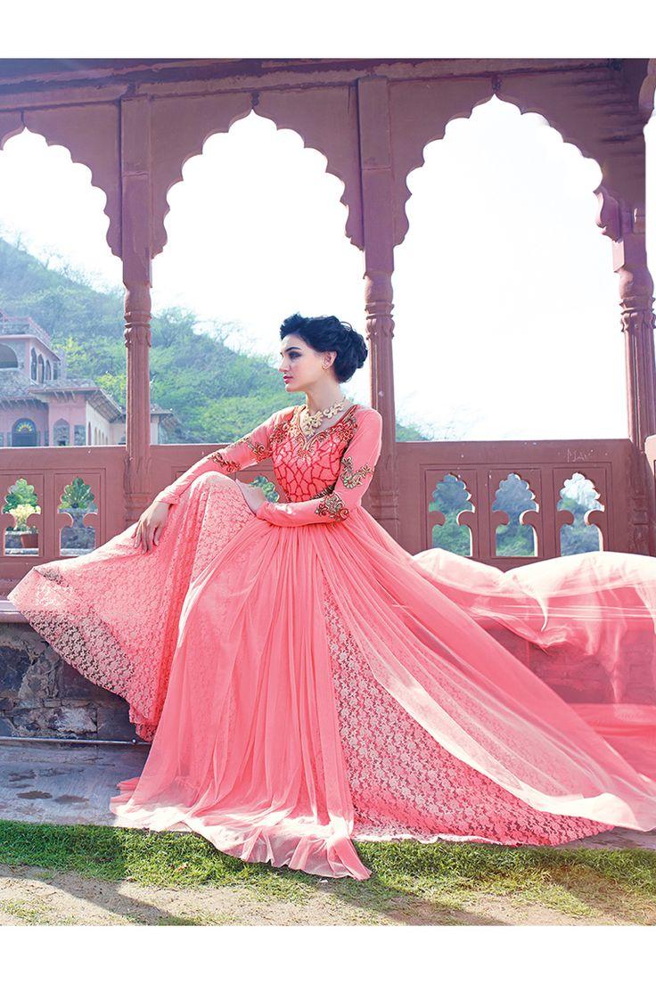 Pink Anarkali Salwar Kameez Online From Easysarees