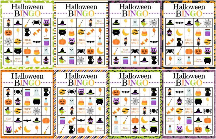 8 different printable Halloween Bingo boards!