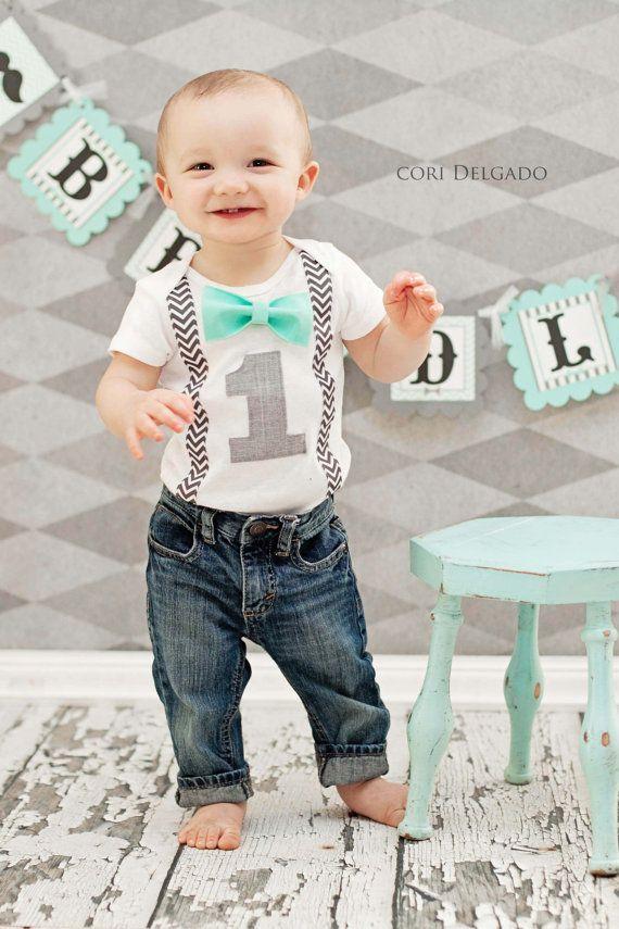 Boys First Birthday Outfit - Baby Boy Clothes - Grey Chevron  Birthday Number Onesie - 1st Birthday - Birthday Bow Tie  - Aqua Gray Birthday