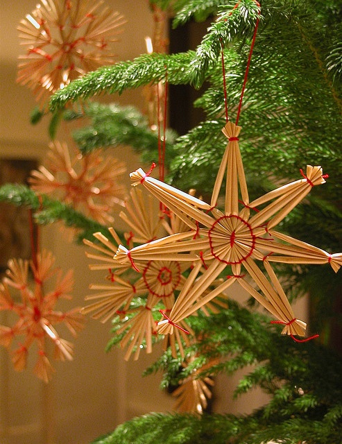Swedish Christmas traditional straw stars tree ornaments