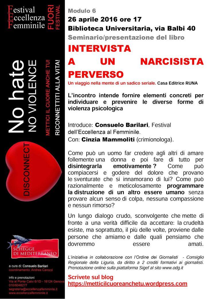 Cinzia Mammoliti ospite al Festival dell'Eccellenza al Femminile per il seminario/presentazione del suo libro inchiesta Intervista a un narcisista perverso