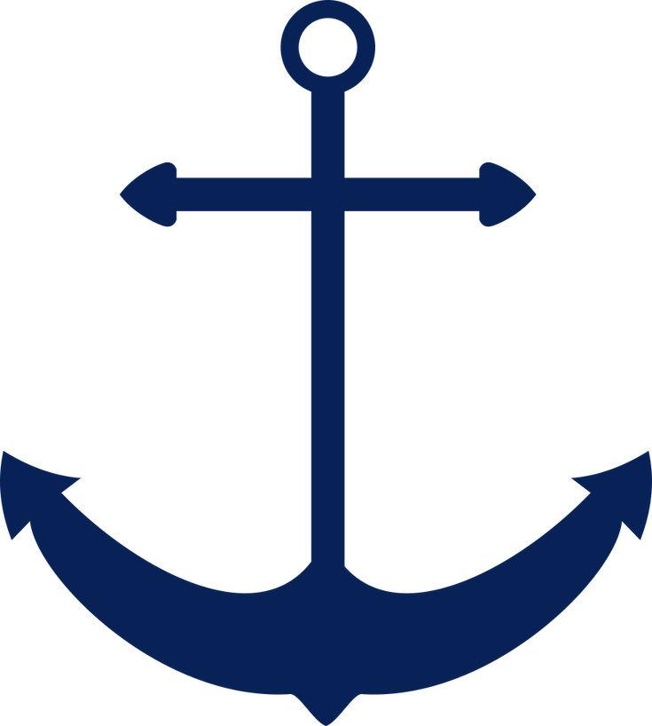 Navy blue anchor with rope clip art
