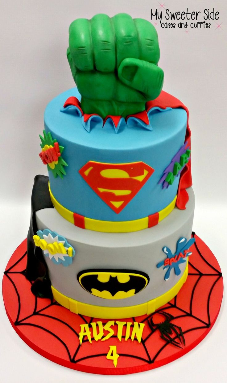 Superhero Cake | Superhero birthday cake, Marvel birthday ...