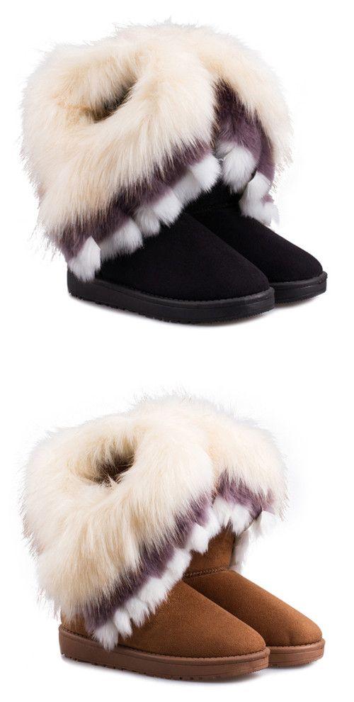 Casual Multicolor Fur Design Women's Snow Boots