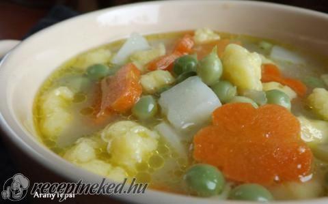 Zsenge zöldborsóleves vajgaluskával recept fotóval