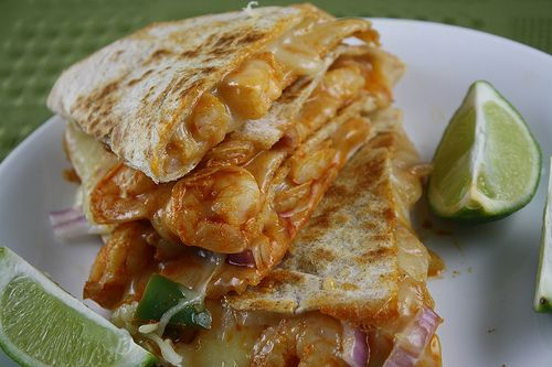 Shrimp quesadillas. LOVE this recipe. I use half the amount of cumin otherwise it's too overpowering.