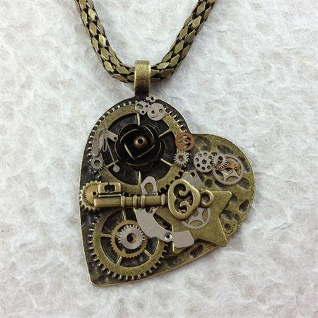 Steampunk Inspired Heart Pendant on Bronze Snake Chain