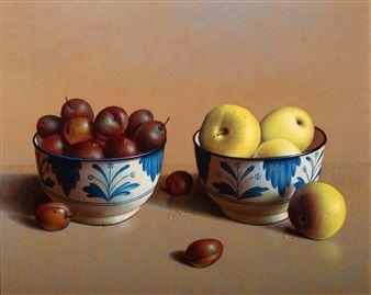 Henri Bol, Plums and apples, 1996, still life - realism - art - enamel - fruit