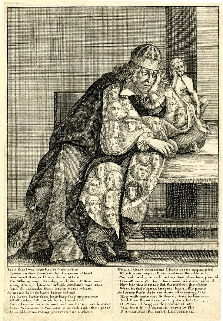 """print engraved by Hollar c.1640. Pennington [no.487] calls it """"Lechery"""". BM impression. Imprint line cropped -- appears in Stent's 1662 catalogue as """"The vile whoremaster"""". Copies (in reverse) Bosse's """"L'Homme fourre de malice"""" of c.1634"""
