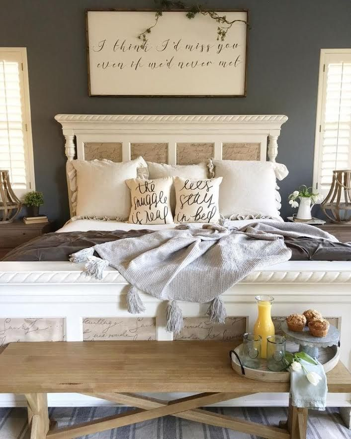 Master bedroom, farmhouse, stripes, White, bedroom, storage, flannel, baskets, rustic, pillows, farmhouse sign, rustic, door headboard, blue, navy, romantic, master bedroom. king size bed, queen size bed, drop cloth curtain,  home, Master retreat cozy, #afflink