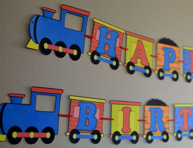 Large Train Birthday Banner 2D Custom Name and Age Up to 20