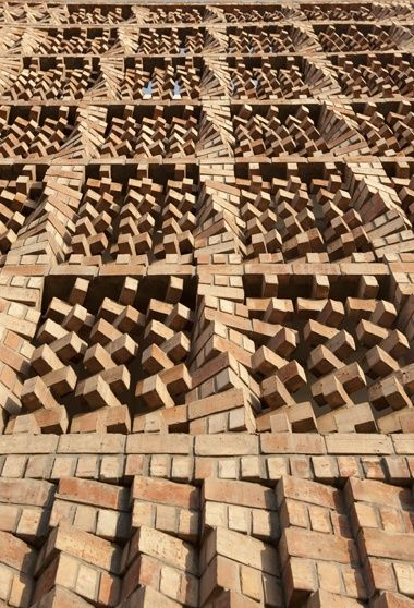 External wall detail from the South Asian Human Rights Documentation Centre in New Delhi by Anagram Architects which took second prize. There are 50 entries for the 2012 Wienerberger Brick Award which will be presented in Vienna in early May