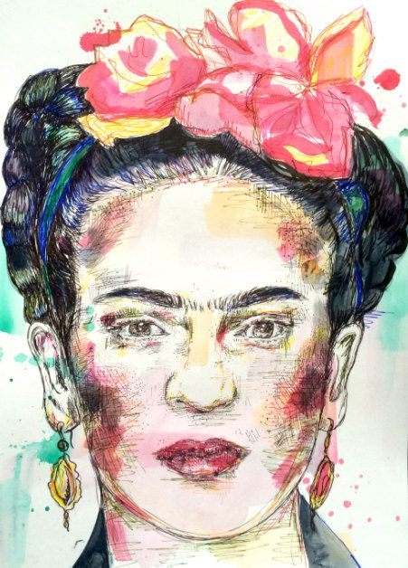 Frida Kahlo Print Pen & Ink Water colour Drawing A4 Painting Mexican Feminist Wall Art Decor Artwork Artist Feminism Colour Line Work
