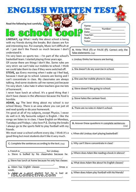 IS SCHOOL COOL? - 7th grade TEST