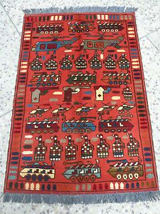 Afghan Nomadic Tribal War Rug Hand Knotted Military Weaponry Imagery 120 X 84cm Via