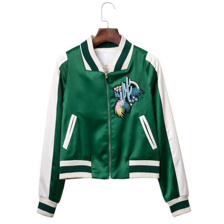 Женская зеленый атласная вышивка цветок бейсбол равномерное куртка все матч свободные короткая куртка женская купить на AliExpress