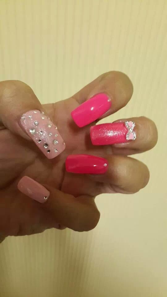 Pink bow manicure jewel from www.nailcandi.co.za - The first re-usable nail art! Simply glue onto nailbed or embed in product (gel, gelpolish, acrylic or glaze.)  Order online