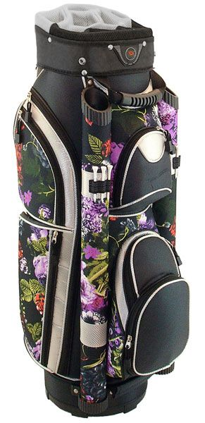 A perfect way to organize golf stuff, through Black Floral Hunter Eclipse Ladies Cart Golf Bag! #golfaccessories #golfessentials #lorisgolfshoppe