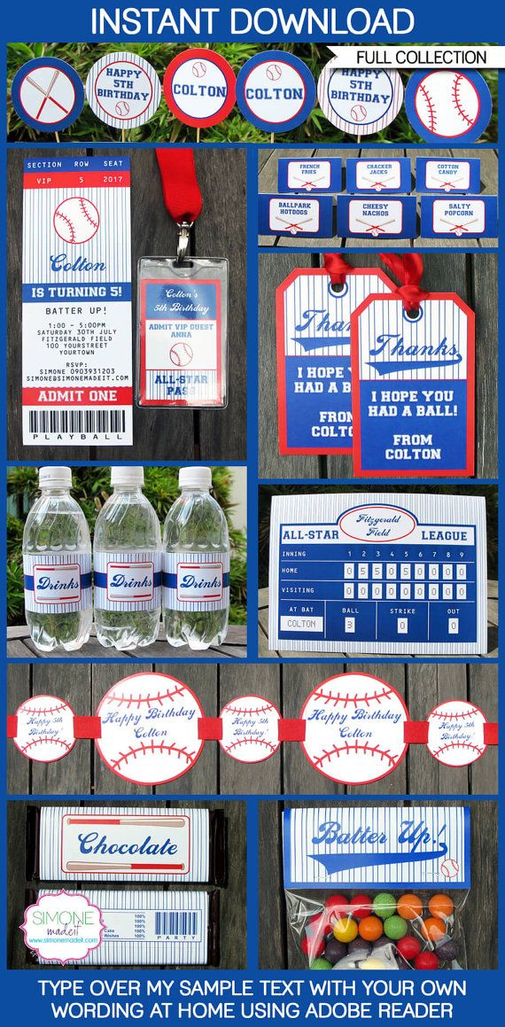 Baseball Party Printables full Package by SIMONEmadeit on Etsy