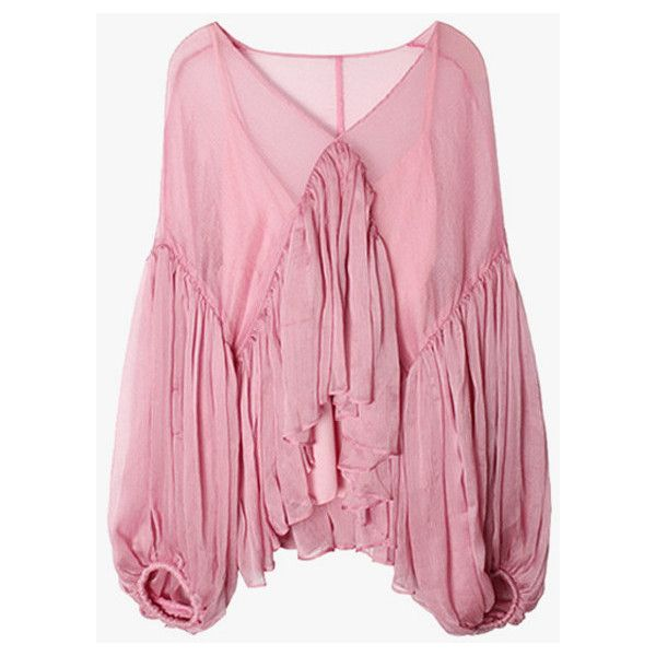 Oversized Chiffon Ruffle Blouse (4.485 RUB) ❤ liked on Polyvore featuring tops, blouses, pink, chiffon tops, puff sleeve blouse, v neck blouse, oversized blouse and puffed sleeve blouse