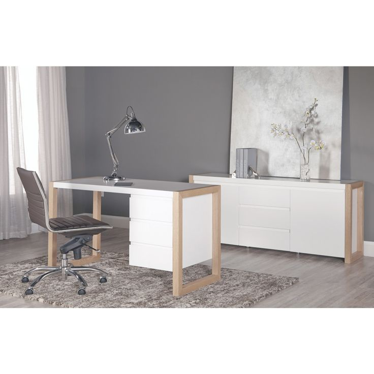 Manon Desk in Matte White with Dark Walnut Finish - Two Drawers, ,