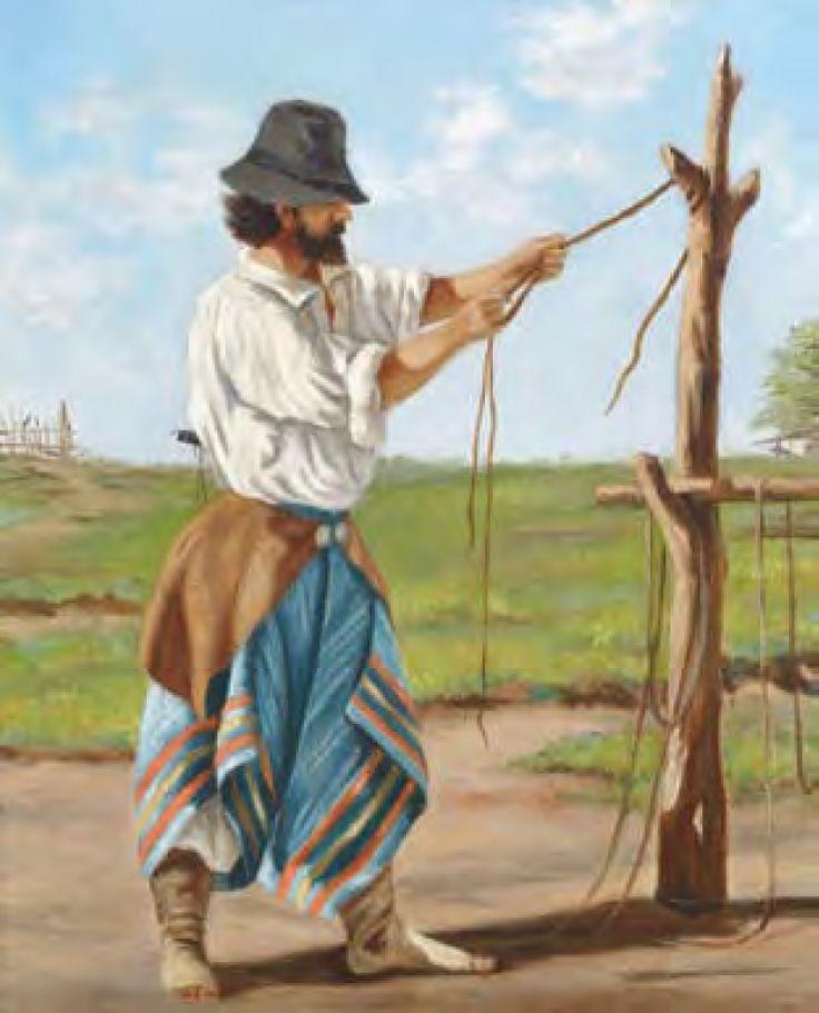 """""""TRENZANDO TIENTOS"""" . Pintura al óleo sobre cartón. Anónimo. Escuela Uruguaya. Siglo XIX"""
