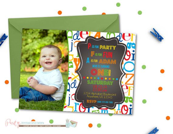 Alphabet Birthday Invitation First Birthday by PartyInvitesAndMore