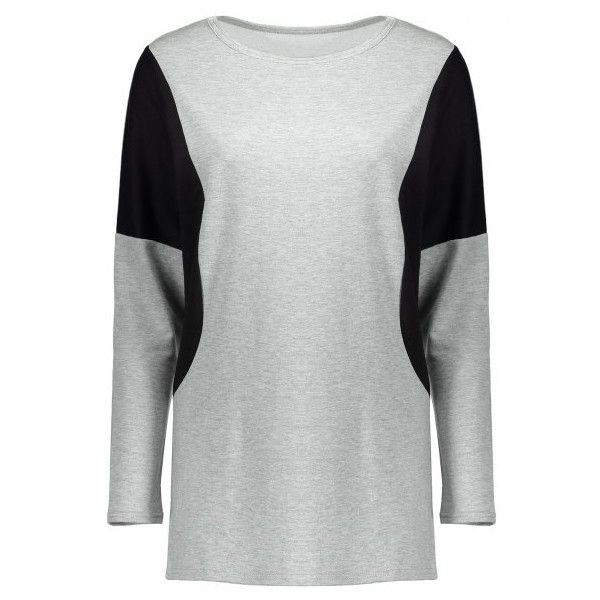 Two Tone Batwing Sleeve Tee (2090 DZD) ❤ liked on Polyvore featuring tops, t-shirts, 2 tone t shirts, grey tee, gray tees, two tone t shirts and bat sleeve tops