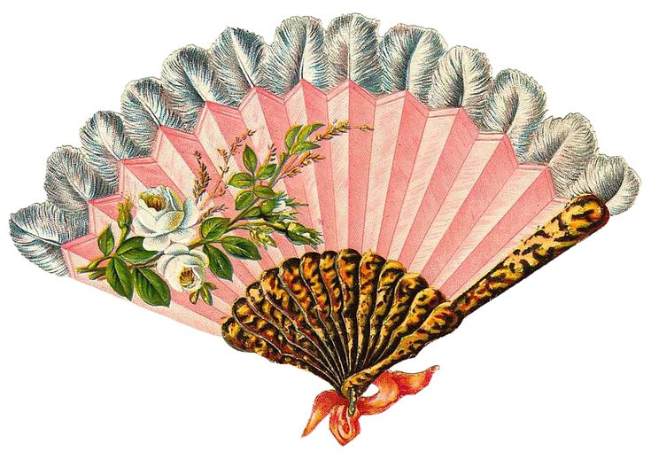 Leaping Frog Designs: Pink Fan Victorian Scrap Piece Free Vintage Image From Leaping Frog Designs