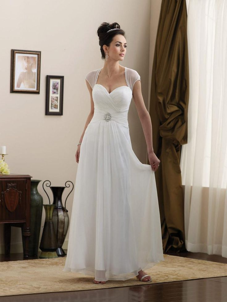 Simple wedding dress simple strapless cap sleeves beaded for Simple casual wedding dresses