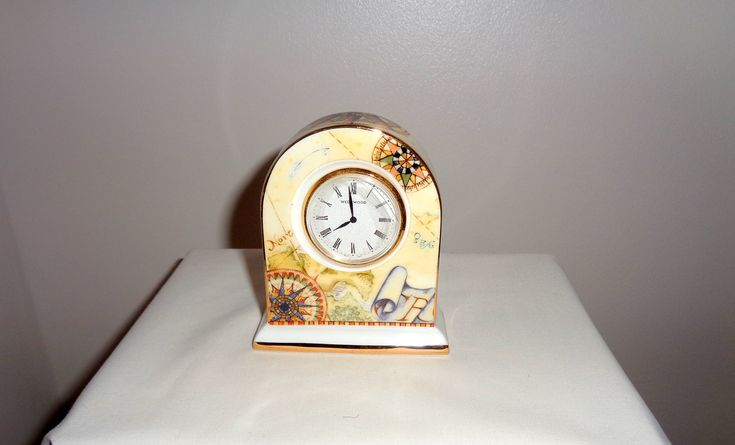 1990s Wedgwood Quartz Battery Atlas Mantel Clock. Atlas pattern with Compass/ Map Detailing. Height 8.3cm. http://etsy.me/2D0bKdn #art #homedecor #vintagepottery #giftideasforwomen #giftideas #mantelclock #vintageclock #atlas #atlaspattern #mullardantiques #lovevintage