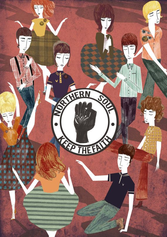 Northern Soul 'Keep The Faith' Illustration Poster by EmyLouHolmes