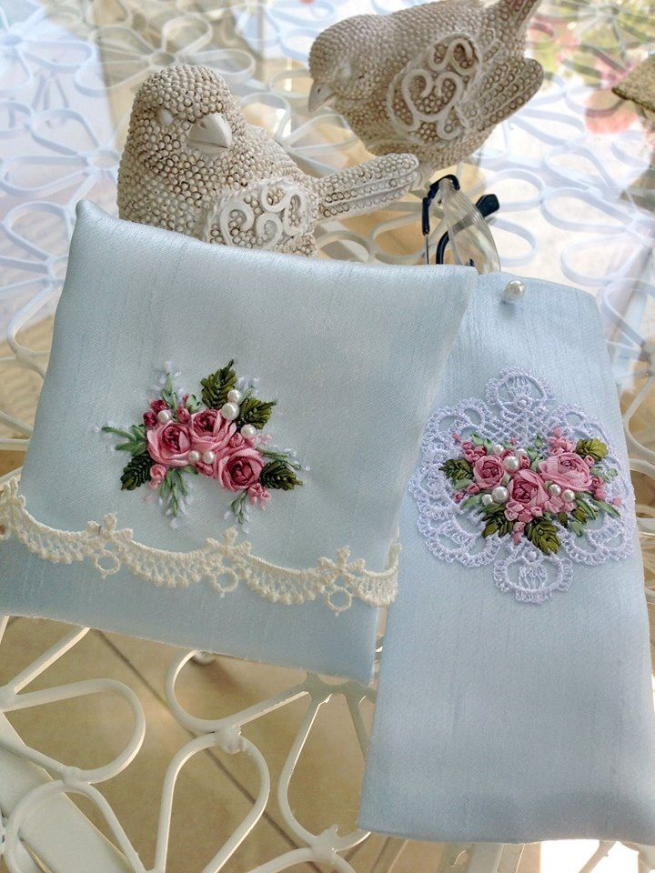 ribbon flowers, embroidery