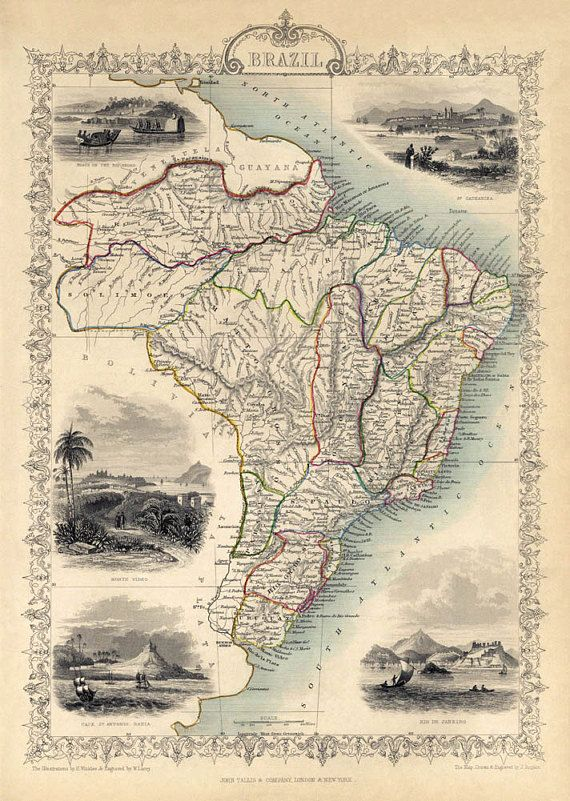 Vintage Map Of Brazil Old Map Reproduction Brazil Map Print On