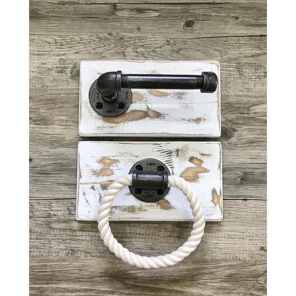 Nautical Handmade Bathroom Set Toilet Paper Holder and Rope Hand Towel... ($75) ❤ liked on Polyvore featuring bathroom, bathroom décor, grey and home & living
