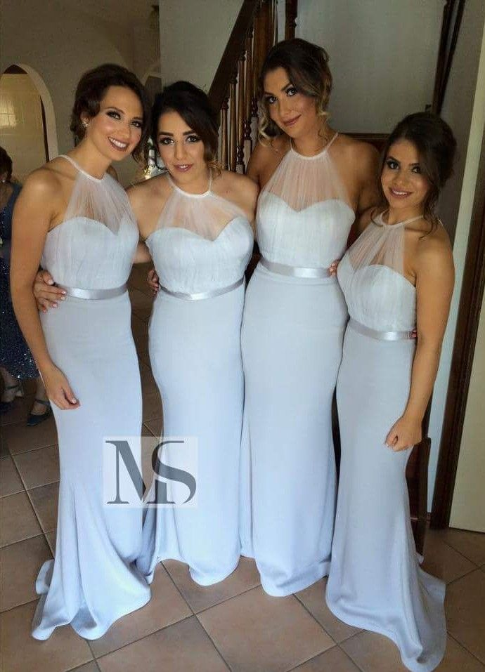 High Neck Halter Mermaid Bridesmaid Dresses Sheer Tulle Sash Maid of Honor Dresses