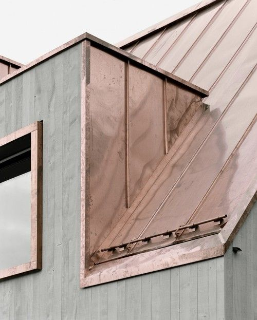Copper rooftop on concrete