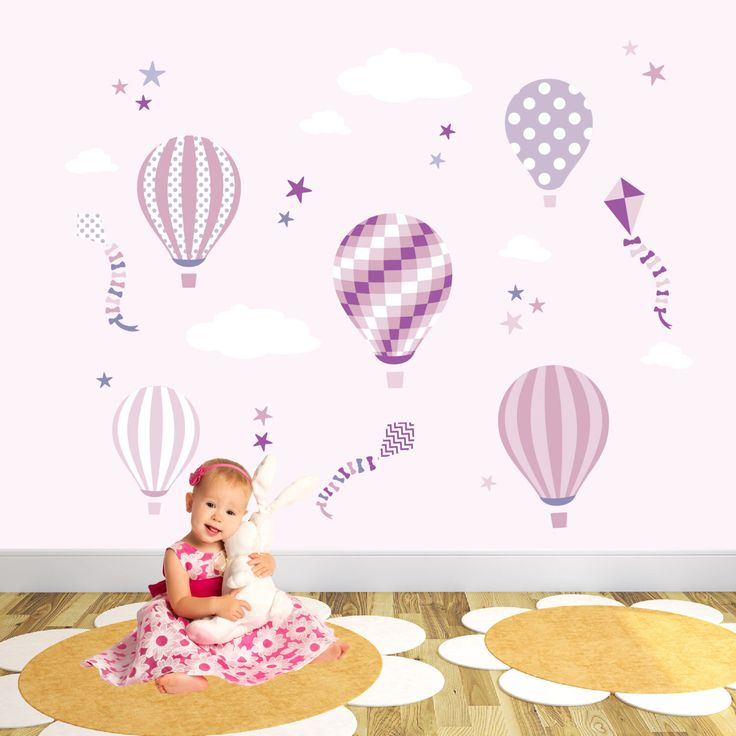 Hot Air Balloon Wall Stickers ~ Kites and Stars Baby Wall Decals, pink and purple, girls nursery wall stickers. Toddler or baby shower Gifts by EnchantedInteriorsUK on Etsy https://www.etsy.com/listing/253432281/hot-air-balloon-wall-stickers-kites-and