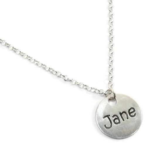 Sterling silver round name plate. Silver name necklace. Personalized name necklace. Bridesmaids gift. Name necklace. Personalized jewelry