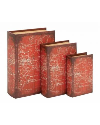 Book Box Trio In World Map Themed Detailed World Map Wooden Books Book