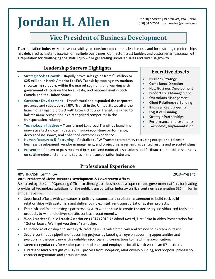Vice President Business Development Resume Sample