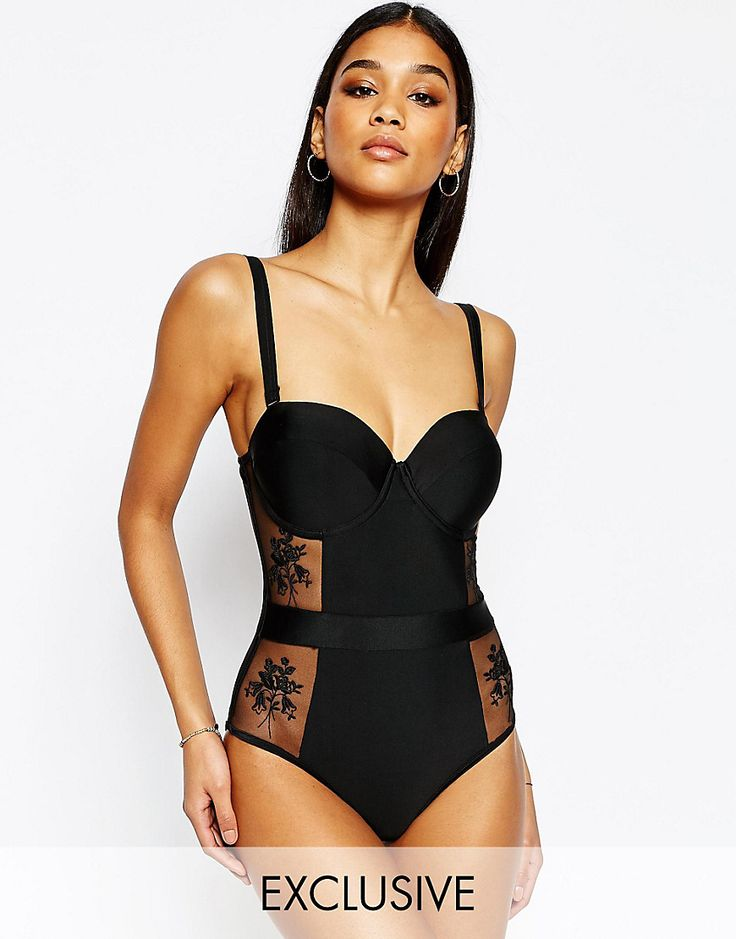 Wolf & Whistle Bustier Lace Swimsuit (asos)