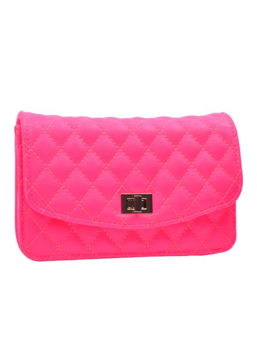 Quilted Clutch-Hot Pink