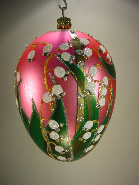 Faberge Egg Style Lilly of the Valley  Christmas Bauble