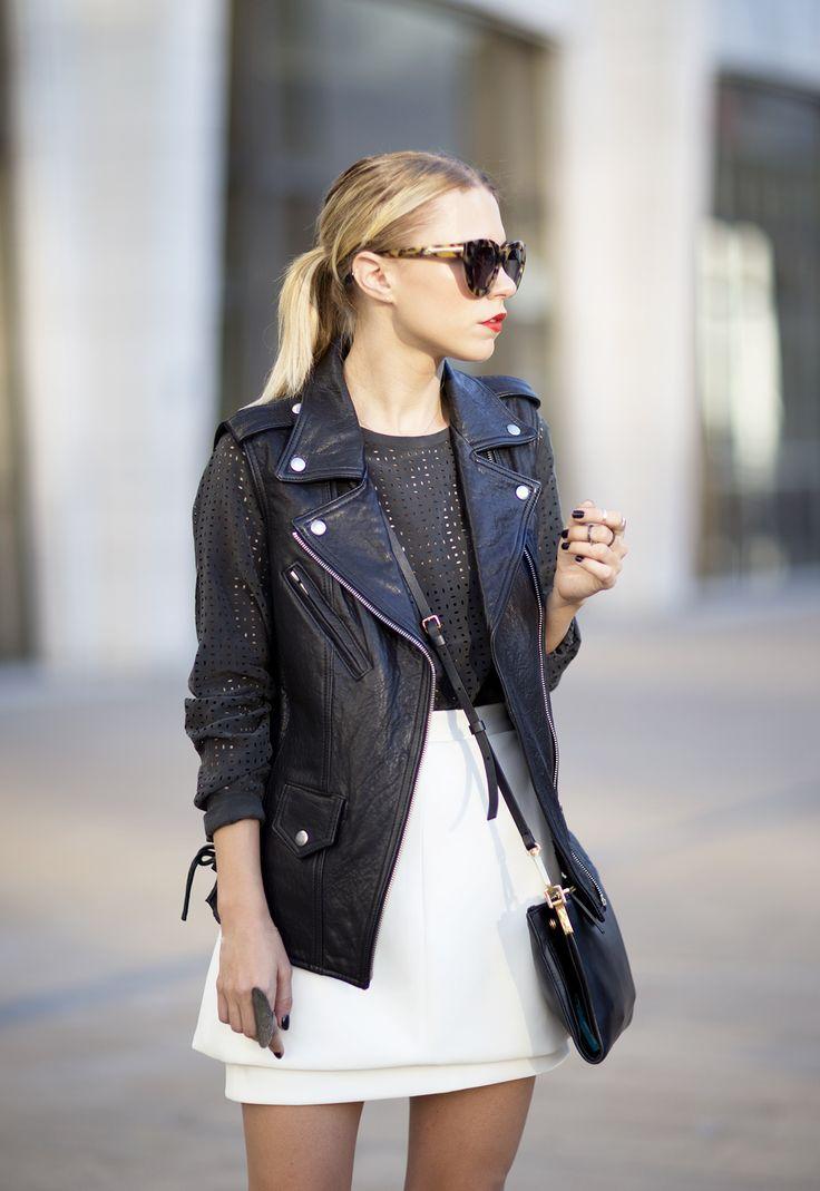 NYFW Veda Leather Vest Equipment Black Laser Cut Blouse Marni Bag Tibi PIper Boots Blogger ALways Judging