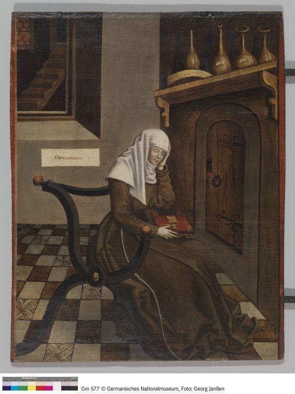 eine nonne bei der betrachtung museum mittelalter acrylbilder modern abstrakt wiener moderne künstler