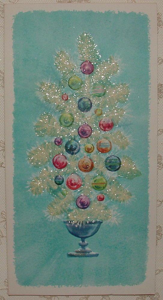 UNUSED - Glittered - White Tree on Turquoise BLUE - 50\'s Vintage ...