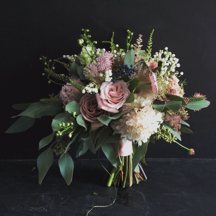 Hand Tied Wedding Bouquet Featuring: Pink/Blush Roses, White Scabiosa Flowers, White Lily Of The Valley + Green Seeded Eucalyptus
