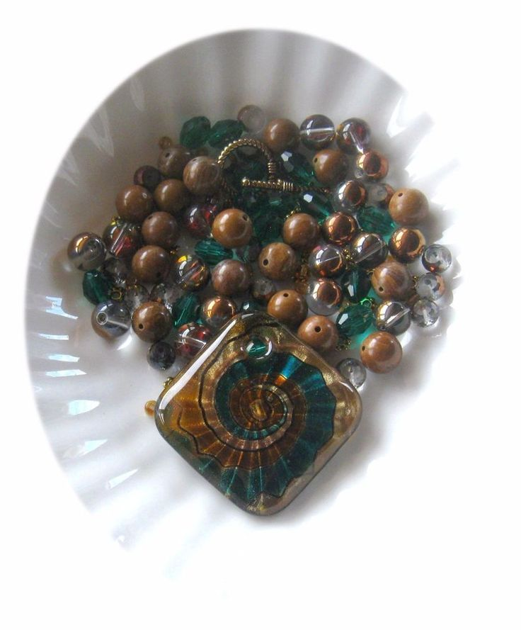 Lamp Work Diamond Pendant, Wood Jasper, Glass Bead, Bead Combo, DIY Jewelry Kit #diyjewelrykit