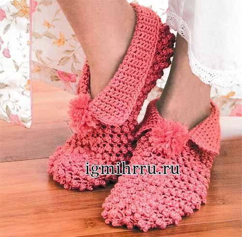 Тапочки-туфли изысканного кораллового цвета, с кокетливыми помпонами и манжетами выглядят очень женственно. Размер: длина стопы 14 (17, 20, 25) см Вам потребуется: 3 мотка коралловой № 0002 пряжи Nаt…
